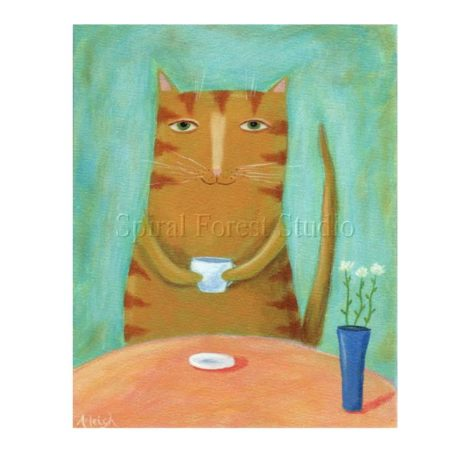 orange cat with coffee