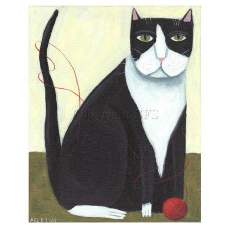 tuxedo cat with yarn