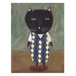 black cat wearing argyle sweater vest