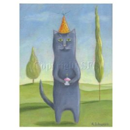 Cat with Cupcake Print