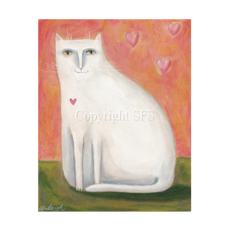white cat with hearts