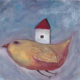 flying bird with house illustration