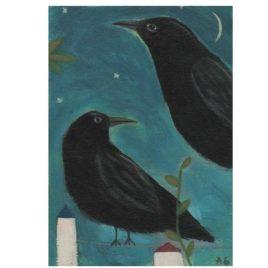 Two Crows – Original Bird Painting