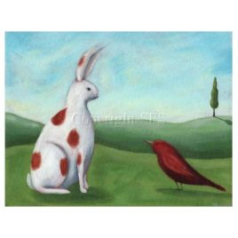 Rabbit & Bird Art Print