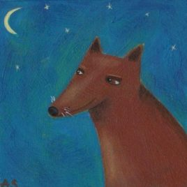 brown dog art, whimsical dog painting, dog folk art