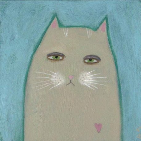 cute cat art, cute cat illustration, whimsical cat painting