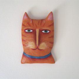 cat portrait wall hanging, cat wearing collar, whimsical cat art, cat wall sculpture
