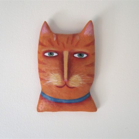 cat portrait wall hanging, cat wearing collar, whimsical cat art, cat wall sculpture