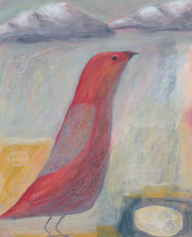 original painting red bird