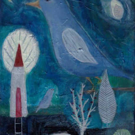 mixed media painting blue bird folk art serene and peaceful