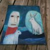 original unique rabbit painting white dog and man