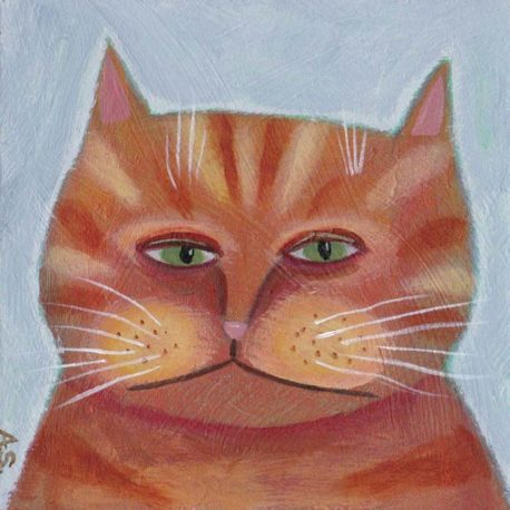 orange tabby cat painting