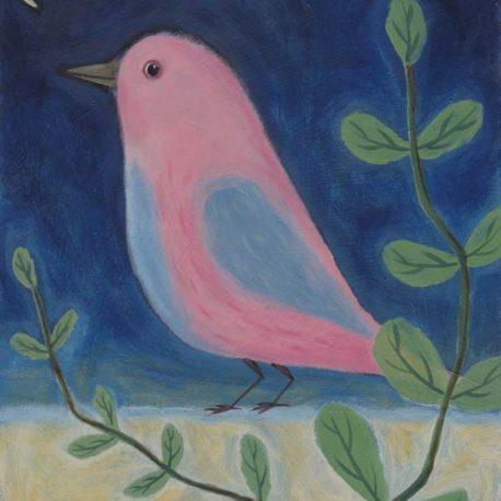 pink bird painting