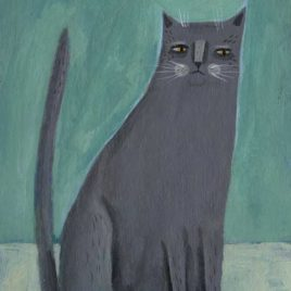 gray cat illustration painting