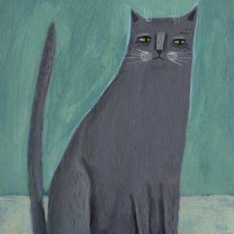 gray cat illustration painting