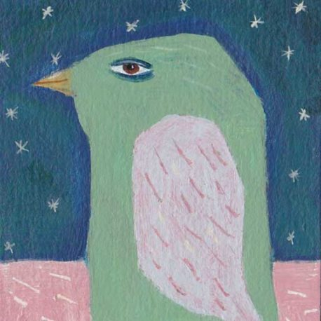 green bird painting
