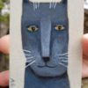 gray cat aceo painting