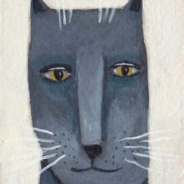 dark gray cat painting