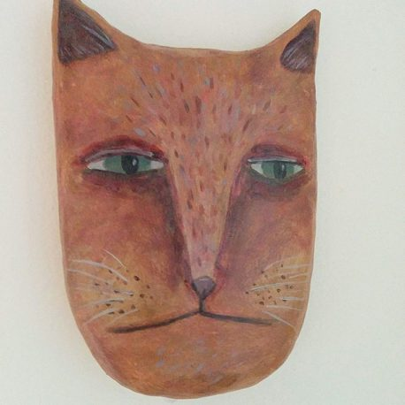 walll mounted orange cat head