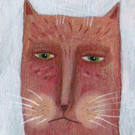 orange cat aceo painting