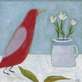 still life with red bird painting