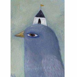 purple bird painting