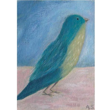 teal bird aceo painting