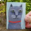 aceo gray cat painting