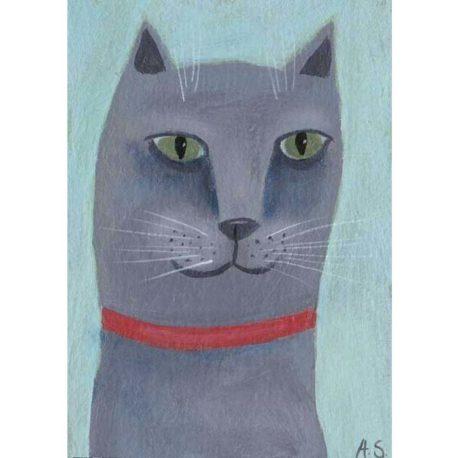 original grey cat painting